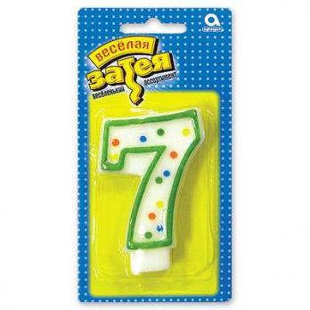 """Свеча -цифра """"7"""" 7,6см."""
