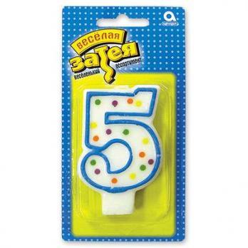 """Свеча -цифра """"5"""" 7,6см."""
