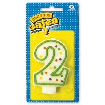 """Свеча -цифра """"2"""" 7,6см."""