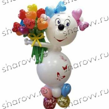 """Фигура из шариков """"Белый медвежонок"""""""