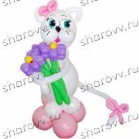 """Фигура из шариков Кошка с цветами"""""""