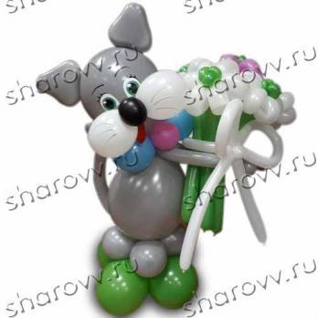 """Фигура из шариков """"Кот с цветами"""""""