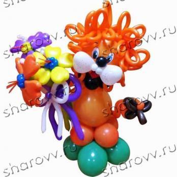 """Фигура из шариков """"Львенок с цветами"""""""