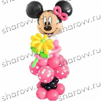 """Фигура из шаров Минни с цветами"""""""