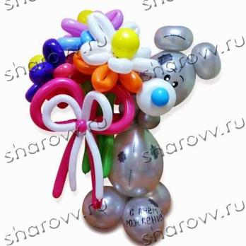 "Фигура из шариков ""Мишка металлик"""