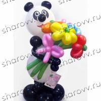 "Фигура из шариков Панда с цветами"""