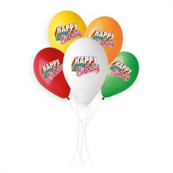 Шары латекс Happy Birthday 5цв.
