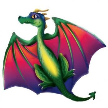 Шар фольга Дракон летящий
