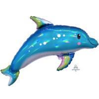 """Шар фольга Дельфин голубой переливы"""""""