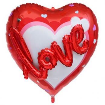 Шар фольга LOVE сердце красное