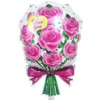 Шар фольга Букет роз розовые