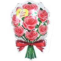 Шар фольга Букет роз красные