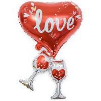 Шар фольга Сердце с бокалами