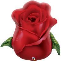 Шар фольга Роза бутон красный
