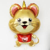 Шар фольга Мышь Единорог в красном