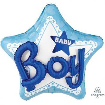 """Шар фольга """"Baby Boy звезда голубая"""""""