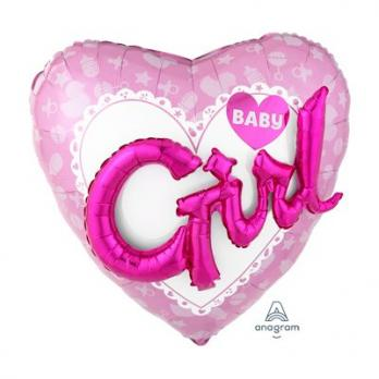 "Шар фольга ""Baby Girl сердце розовое"""