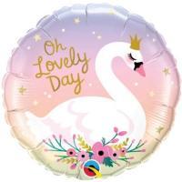 Шар фольга Лебедь свадебный