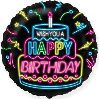 Шар фольга WISH YOU A HAPPY BIRTHDAY Неон
