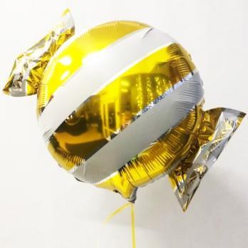 Шар фольга Конфета полоска желтая