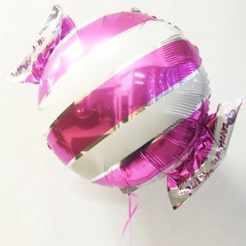 Шар фольга Конфета полоска розовая