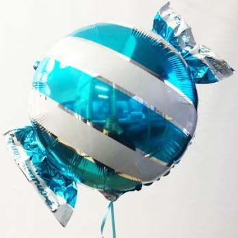 Шар фольга Конфета полоска голубая