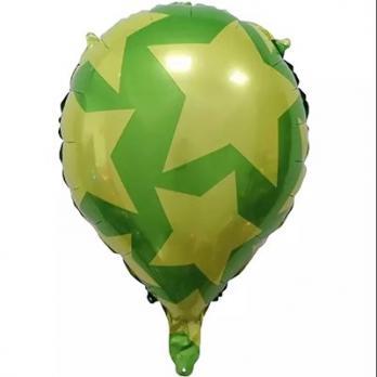Шар фольга Капля Звезды на зеленом