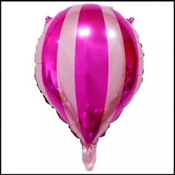 Шар фольга Капля Полоски на розовом