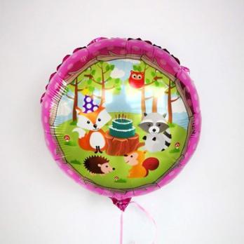 Шар фольга Лесные животные торт на розовом