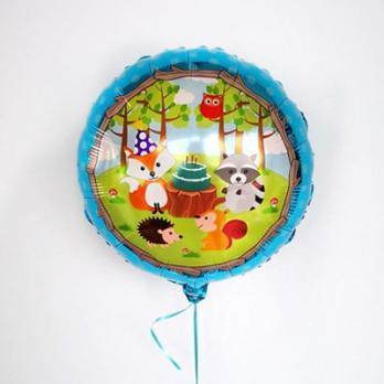 Шар фольга Лесные животные торт на голубом