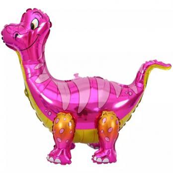 """Ходячий шар """"Динозавр Брахиозавр розовый"""""""