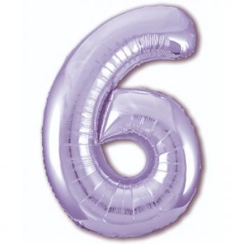 Шар Цифра 6 Сиреневый