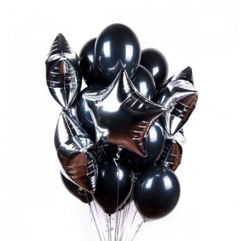 Набор шаров Черные с серебром