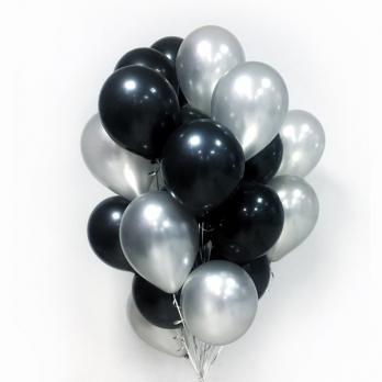 30 воздушных шаров серебро черный с обработкой