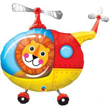 Шар фигура фольга Лев в вертолете