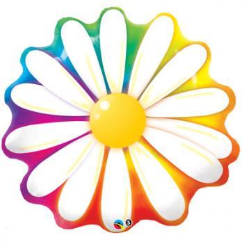 """Шар фигура фольга """"Цветок Ромашка радуга"""""""