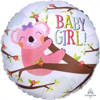 "Шар круг фольга ""BABY GIRL коала"""