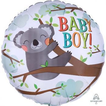 "Шар круг фольга ""BABY BOY коала"""