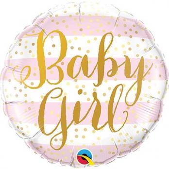 "Шар круг фольга ""Baby Girl полосы розовые"""