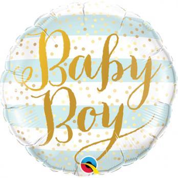 """Шар круг фольга """"Baby Boy полосы голубые"""""""