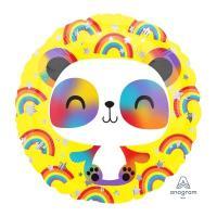 Шар круг фольга Панда радужная