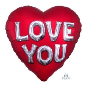 Шар сердце фольга ILY Буквы 3D Сатин Red