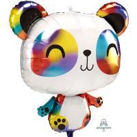 Шар фигура фольга Панда радужная