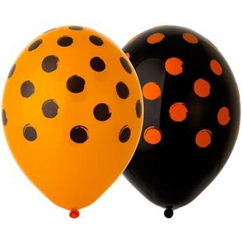 Шары из латекса Горошек оранжево-черный