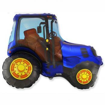 Шар фигура фольга Трактор синий