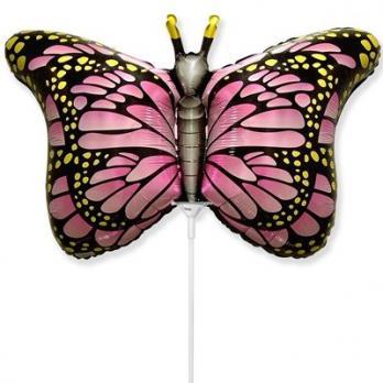 """Шарик на палочке """"Бабочка крылья розовые"""""""