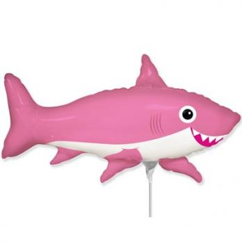 "Шарик на палочке Акула веселая розовая"""