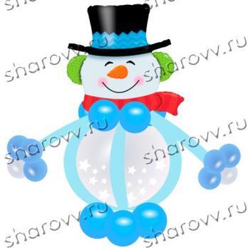 """Фигура из шариков """"Снеговик в шляпе"""""""
