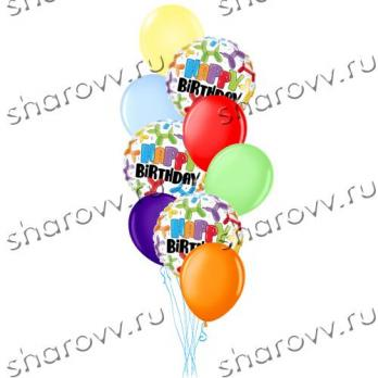 Фонтан из шариков Happy Birthday""