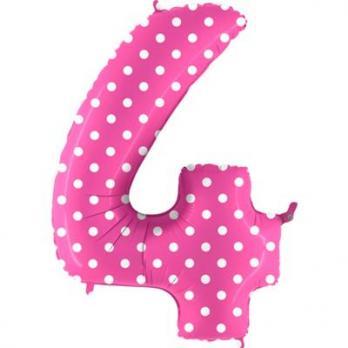 Цифра 4 Горошек на розовом